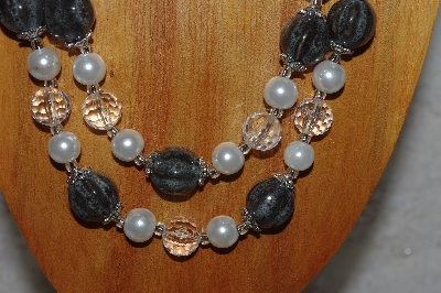 "MBADS #05-0002  ""Grey, Clear & White Bead Necklace & Earring Set"""
