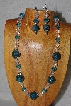 "MBASS #0003-243  ""Blue, Clear & Green Bead Necklace & Earring Set"""
