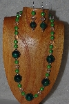 "MBASS #0003-237  ""Green & Clear Bead Necklace & Earring Set"""