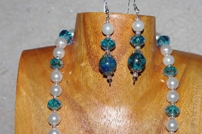 "MBASS #0003-231  ""Green, Blue & White Bead Necklace & Earring Set"""