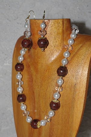 "MBASS #0003-274  ""Brown, Clear & White Bead Necklace & Earring Set"""