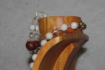 "MBASS #0003-268  ""Brown, White & Clear Bead Necklace & Earring Set"""