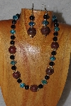 "MBASS #0003-262  ""Brown, Black & Blue Bead Necklace & Earring Set"""