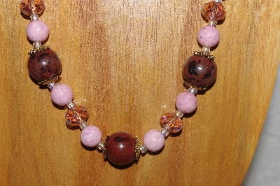"MBASS #0003-255  ""Brown & Pink Bead Necklace & Earring Set"""