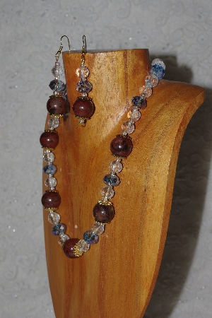 "MBASS #0003-249  ""Brown, Clear & Blue Bead Necklace & Earring Set"""