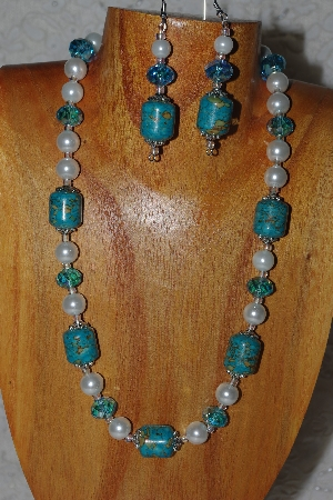 "MBASS #0003-287  ""Blue & White Bead Necklace & Earring Set"""