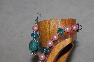 "MBASS #0003-292  ""Pink & Blue Bead Necklace & Earring Set"""