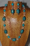 "MBASS #0003-298  ""Blue & Clear Bead Necklace & Earring Set"""