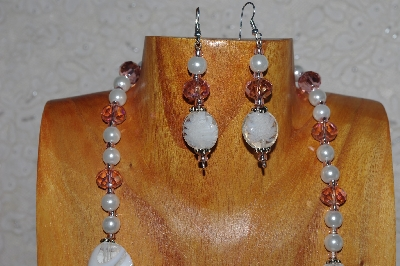 "MBASS #0003-0105 "" Pink & White Bead Necklace & Earring Set"""