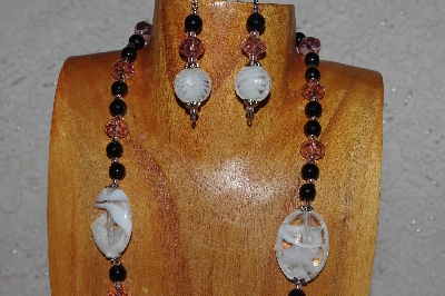 "MBASS #0003-0100  ""Black, Pink & White Bead Necklace & Earring Set"""