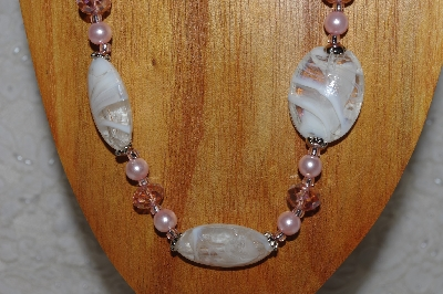 "MBASS #0003-0093  ""Pink & White Bead Necklace & Earring Set"""