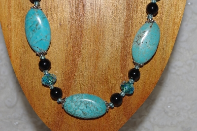 "MBASS #0003-0130  ""Blue & Black Bead Necklace & Earring Set"""