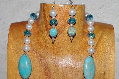 "MBASS #0003-0123  ""Blue & White Bead Necklace & Earring Set"""