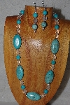 "MBASS #0003-0111  ""Blue & Clear Bead Necklace & Earring Set"""