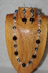 "MBASS #0003-0183  ""Black & Clear Bead Necklace & Earring Set"""