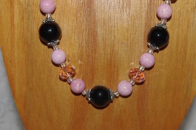 "MBASS #0003-0171  ""Pink & Black Bead Necklace & Earring Set"""