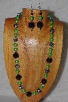 "MBASS #0003-0165  ""Black & Green Bead Necklace & Earring Set"""