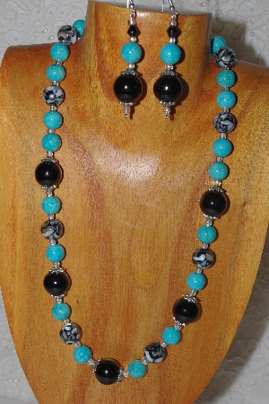 "MBASS #0003-0154  ""Blue & Black Bead Necklace & Earring Set"""