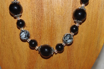 "MBASS #0003-0147  ""Black Bead Necklace & Earring Set"""