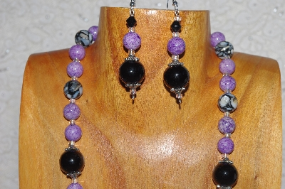 "MBASS #0003-0135  ""Black & Lavender Bead Necklace & Earring Set"""