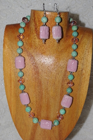 "MBASS #0003-0189  ""Pink & Green Bead Necklace & Earring Set"""