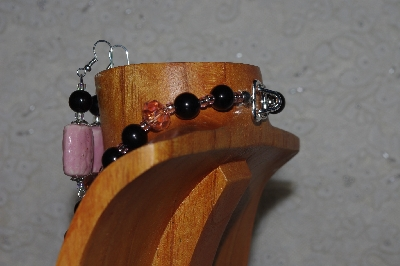 "MBASS #0003-0195  ""Black & Pink Bead Necklace & Earring Set"""