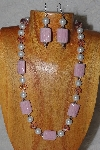 "MBASS #0003-0202  ""Pink & White Bead Necklace & Earring Set"""