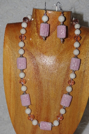 "MBASS #0003-213  ""Pink & White Bead Necklace & Earring Set"""