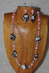 "MBASS #0003-0042  ""Black,White & Pink Bead Necklace & Earring Set"""