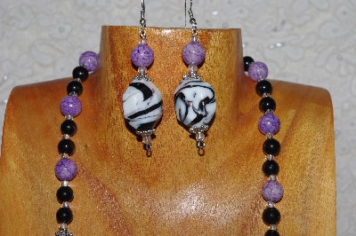 "MBASS #0003-0036  ""Black,White & Lavender Bead Necklace & Earring Set"""