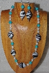 "MBASS #0003-0030  ""Black, Blue & White Bead Necklace & Earring Set"""