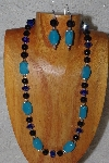 "MBASS #0003-0024 ""Blue & Black Glass Necklace & Earring Set"""