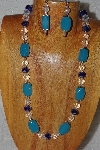 "MBASS #0003-0018  ""Blue & Clear Bead Necklace & Earring Set"""