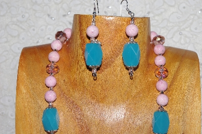 "MBASS #0003-0001  ""Pink & Blue Bead Necklace & Earring Set"""