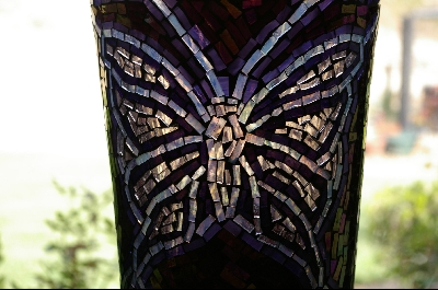 Large Hand Done Stained Glass Floor Vase