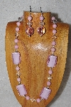 "MBASS #0003-0087  ""Pink & Clear Bead Necklace & Earring Set"""