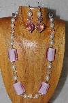 "MBASS #0003-0081  ""White, Clear & Pink Bead Necklace & Earring Set"""