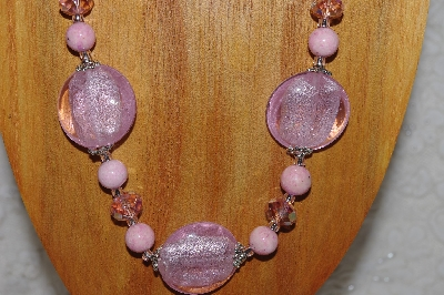 "MBASS #0003-0067  ""Pink Bead Necklace & Earring Set"""