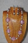 "MBASS #0003-0060  ""Pink & White Bead Necklace & Earring Set"""