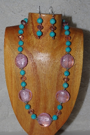 "MBASS #0003-0054  ""Pink & Blue Bead Necklace & Earring Set"""