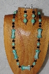 "MBASS #0003-0048  ""Green & Black Bead Necklace & Earring Set"""
