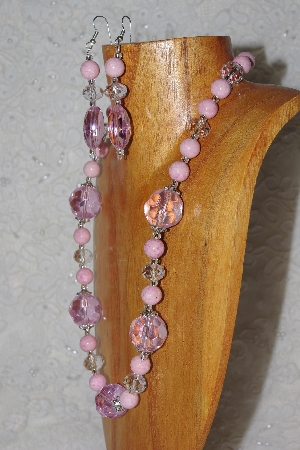 "MBAHB #58-136  ""Pink & Clear Bead Necklace & Earring Set"""