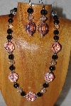 "MBAHB #58-130  ""Pink,Black & Clear Bead Necklace & Earring Set"""