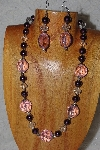 "MBAHB #58-121  ""Pink,Clear & Purple Bead Necklace & Earring Set"""