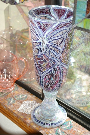 Large Hand Mosiaced Glass Floor Vase