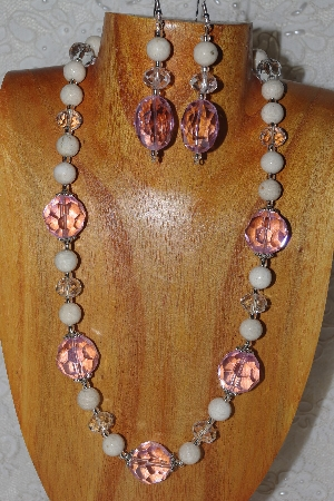 "MBAHB #58-115    ""Pink,White & Clear Bead Necklace & Earring Set"""