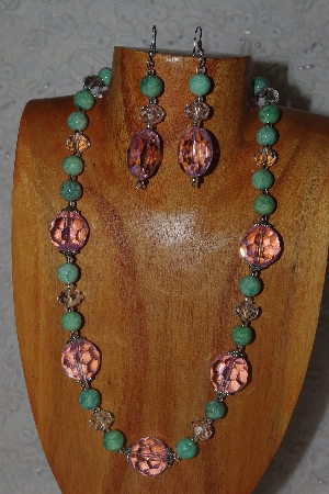 "MBAHB #58-107  ""Pink,Green & Clear Bead Necklace & Earring Set"""