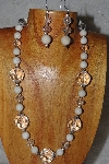 "MBAHB #58-0089  ""Clear & White Bead Necklace & Earring Set"""