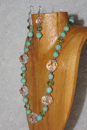 "MBAHB #58-0083  ""Green & Clear Bead Necklace & Earring Set"""