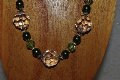 "MBAHB #58-0077  ""Green & Clear Bead Necklace & Earring Set"""
